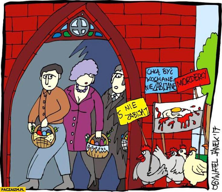 Protest kur pod kościołem jajka piąte nie zabijaj Wielkanoc Obywatel Janek