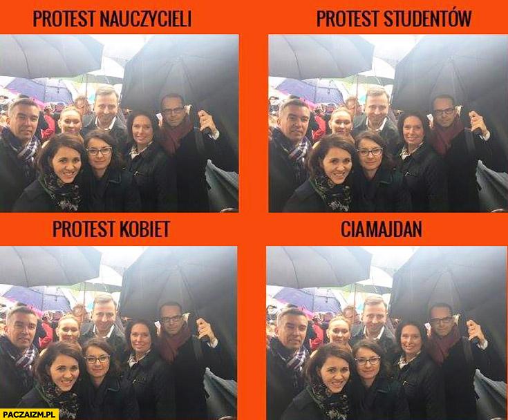 Protest nauczycieli studentów kobiet ciamajdan porównanie