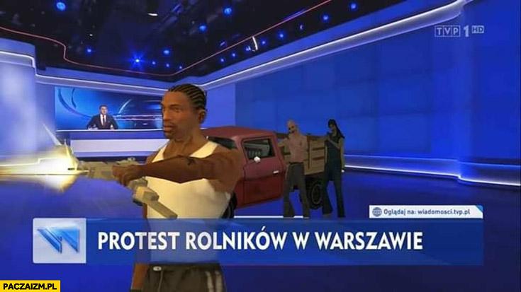 Protest rolników w Warszawie GTA Grand Theft Auto wiadomości TVP wizualizacja 3D