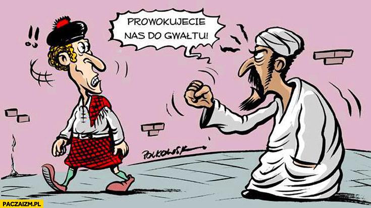Prowokujecie nas do gwałtu muzułmanin Szkot spódnica