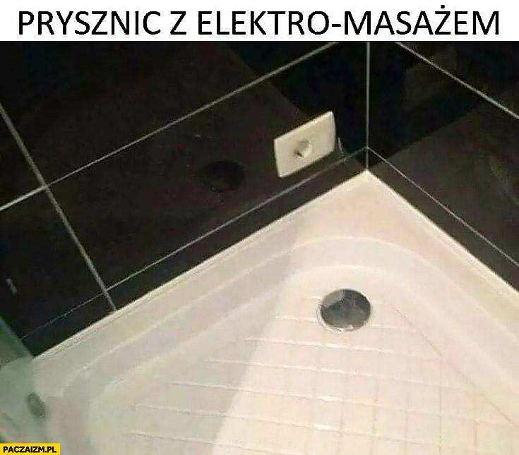 Prysznic z elektro masażem gniazdko kontakt w kabinie prysznicowej