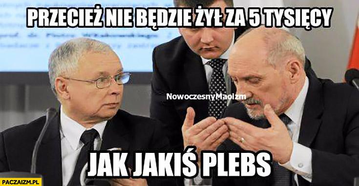 Przecież nie będzie żył za 5 tysięcy jak jakiś plebs Misiewicz Macierewicz Kaczyński