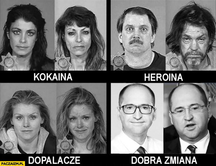 Przed i po: dobra zmiana, kokaina, heroina, dopalacze porównanie poseł PiS