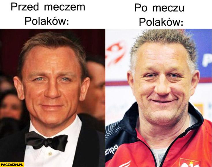 Przed meczem Polaków Daniel Craig, po meczu Polaków Michael Biegler piłka ręczna