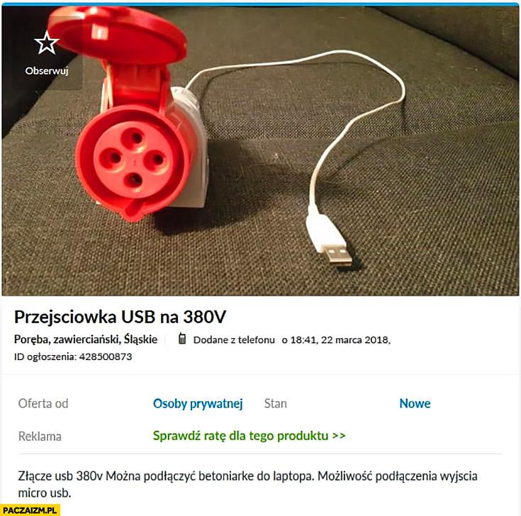 Przejściówka USB na 380V ogłoszenie na OLX