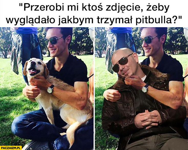 Przerobi mi ktoś zdjęcie żeby wyglądało jakbym trzymał Pitbulla?