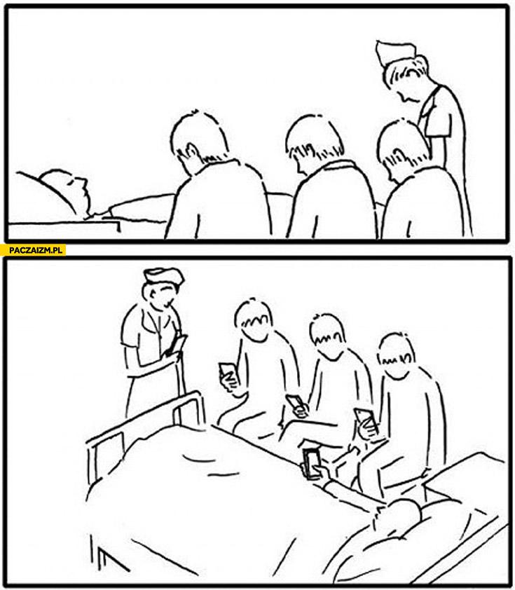 Przy łóżku wszyscy ze smartfonem