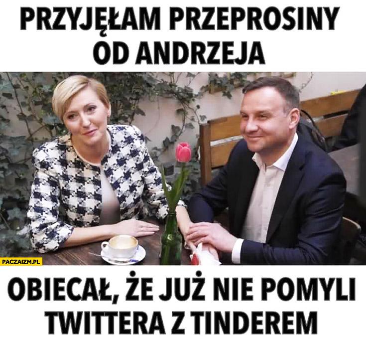 Przyjęłam przeprosiny od męża obiecał, że już nie pomyli twittera z tinderem Andrzej Duda Agata Duda