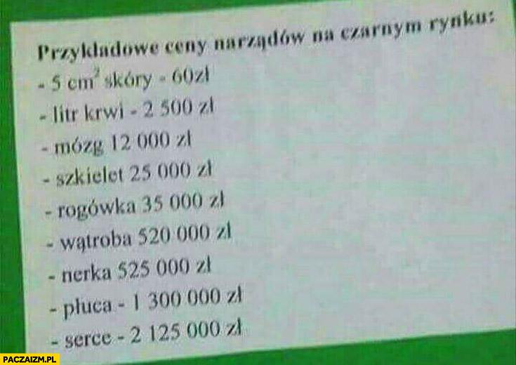 Przykładowe ceny narządów na czarnym rynku lista rozpiska cennik organy