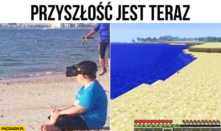 Przyszłość jest teraz: dzieciak siedzi na plaży ogląda plażę w Minecrafcie przez gogle VR wirtualna rzeczywistość