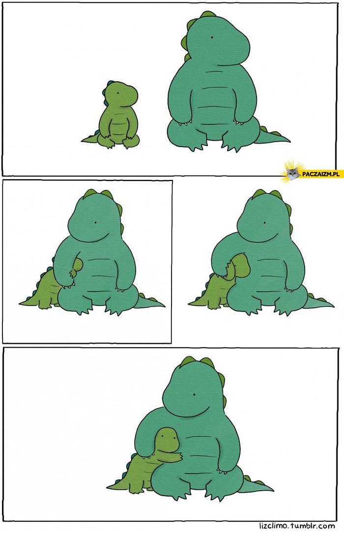 Przytulające się dinozaury