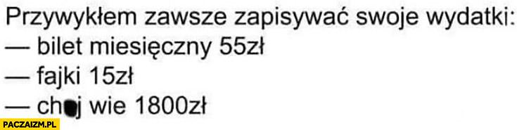 Przywykłem zawsze zapisywać swoje wydatki: bilet miesięczny 55 zł, fajki 15 zł, kij wie co 1800 zł