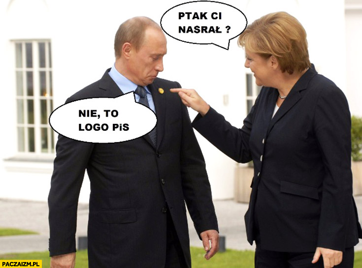 Ptak ci nasrał, nie to logo PiS Putin Merkel
