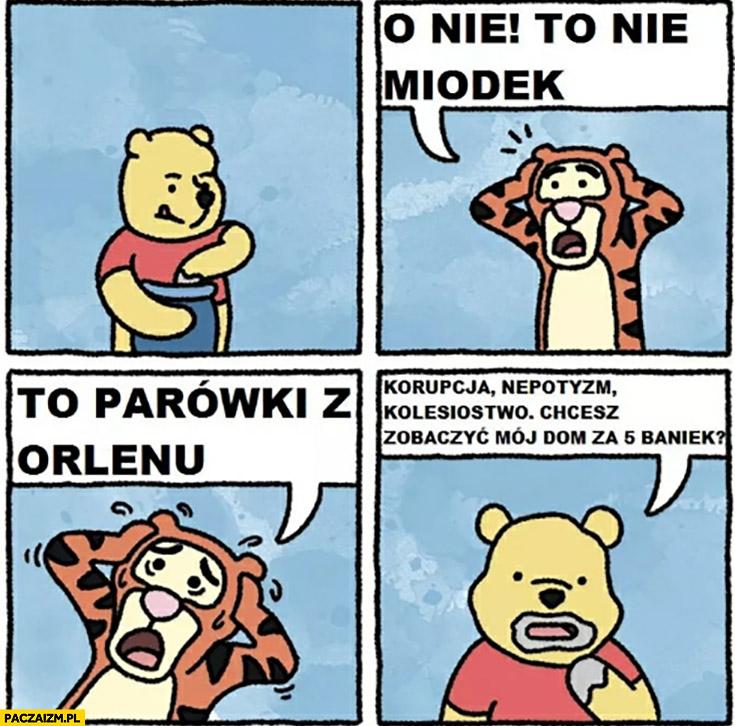 Puchatek o nie to nie miodek to parówki z Orlenu korupcja, nepotyzm, kolesiostwo tygrysek komiks