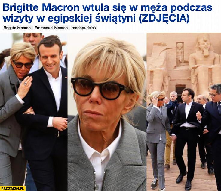 Pudelek tytuł Brigitte Macron wtula się w męża podczas wizyty w egipskiej świątyni
