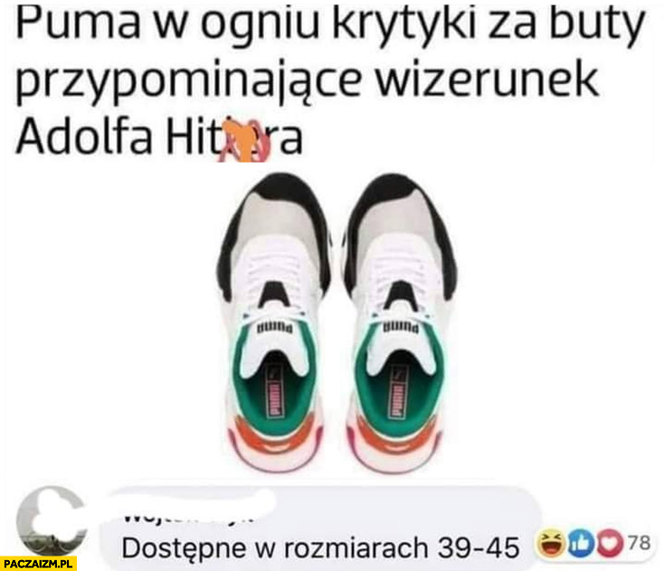 Puma krytykowana za buty przypominajce wizerunek adolfa hitlera dostępne w rozmiarach 39-45