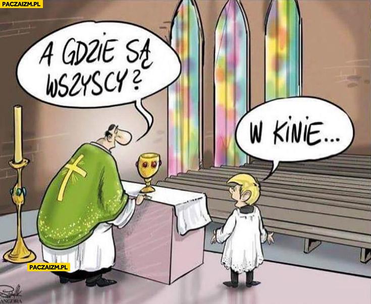 Pusty kościół na mszy a gdzie są wszyscy? W kinie na filmie Kler