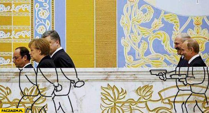 Putin Łukaszenko domalowane pistolety Merkel Hollande