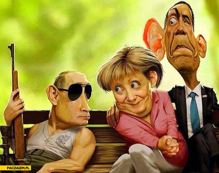 Putin Merkel Obama karykatura