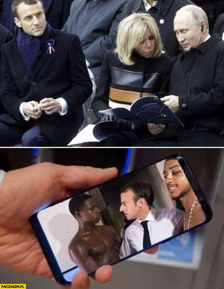 Putin pokazuje żonie Macrona jego zdjęcia z murzynami