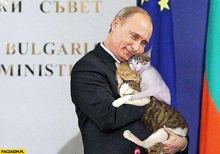 Putin przytula kotki