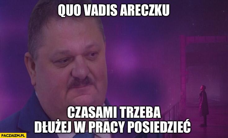 Quo vadis Areczku czasami trzeba dłużej w pracy posiedzieć Janusz Alfa