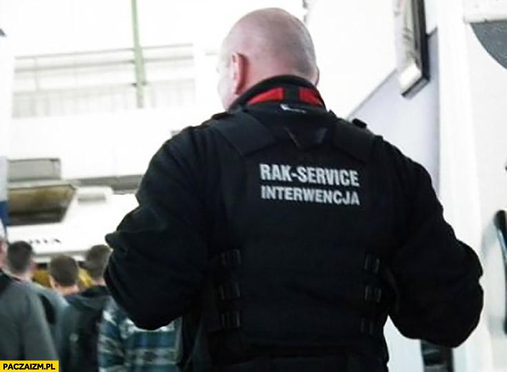 Rak service interwencja ochrona napis na plecach