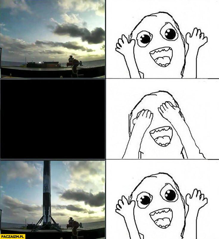 Rakieta Space X ląduje na barce zamyka oczy otwiera i jest mem