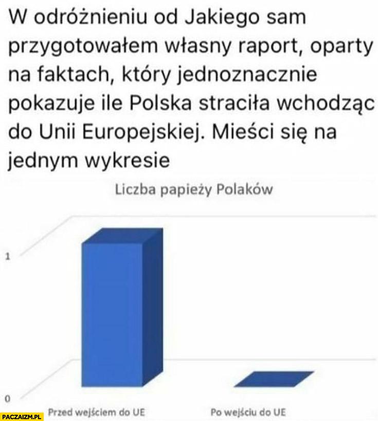 Raport ile Polska straciła wchodząc do unii europejskiej liczba papieży Polaków przed i po wejściu do UE