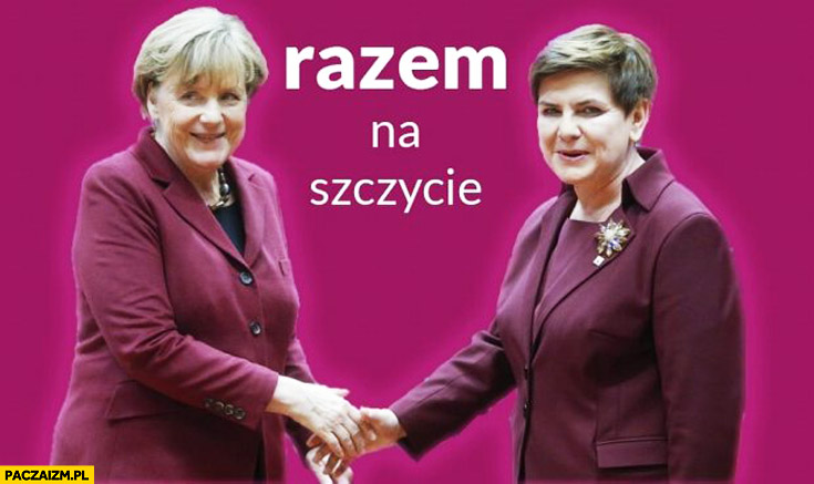 Razem na szczycie Merkel Szydło bordowy purpurowy strój kostium