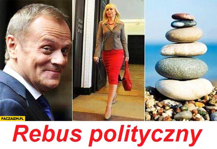 Rebus polityczny kamieni kupa Tusk Bieńkowska