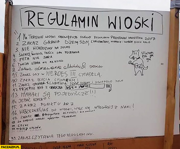 Regulamin wioski na Woodstocku