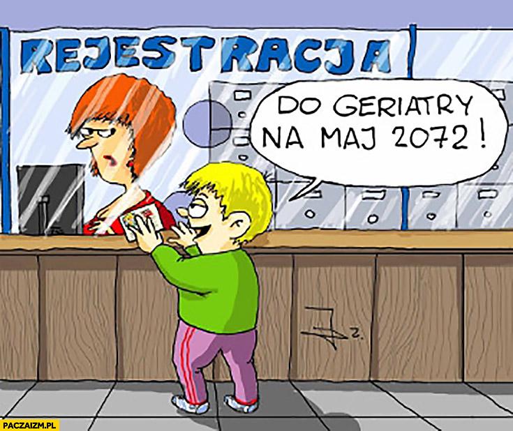 Rejestracja do geriatry na maj 2072 dziecko