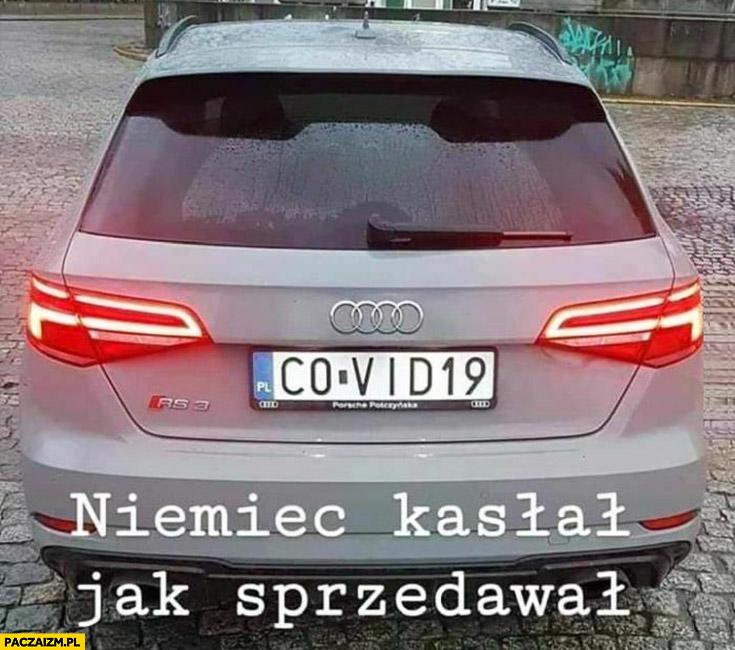 Rejestracja tablica Covid-19 Niemiec kasłał jak sprzedawał