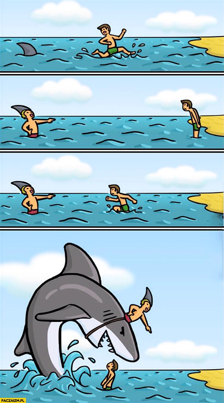 Rekin przebrany za człowieka przebranego za rekina komiks