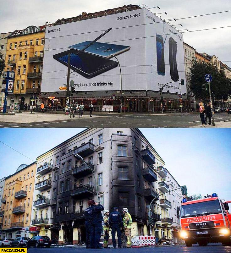 Reklama Samsung Galaxy Note 7 na budynku w Niemczech pożar wybuch