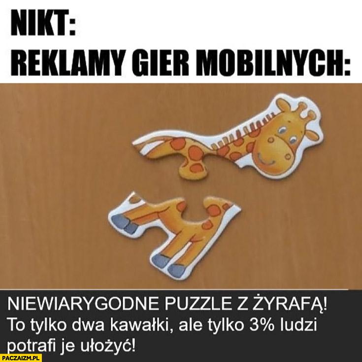 Reklamy gier mobilnych: niewiarygodne puzzle to tylko dwa kawałki ale tylko 3% procent ludzi potrafi je ułożyć