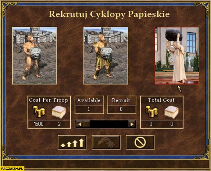 Rekrutuj cyklopy papieskie z kamieniem głazem Heroes 3