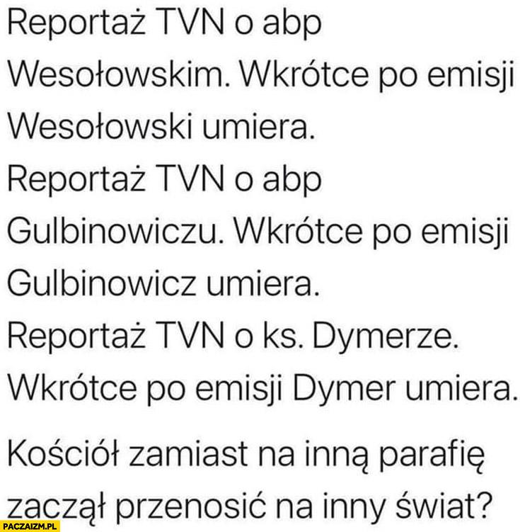 Reportaż TVN o Wesołowskim – umiera, o Gułbinowiczu – umiera, o Dymerze – umiera, kościół zamiast na inna parafię zaczął przenosić na inny świat
