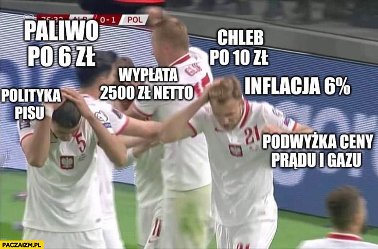 Reprezentacja polski piłkarze vs polityka PiSu paliwo po 6 zł, chleb po 10 zł, inflacja 6% procent podwyżki prądu gazu wypłata 2500 netto