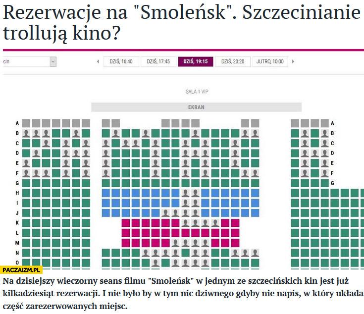 Rezerwacje na film Smoleńsk napis ZAMACH z miejsc krzeseł foteli Szczecin kino