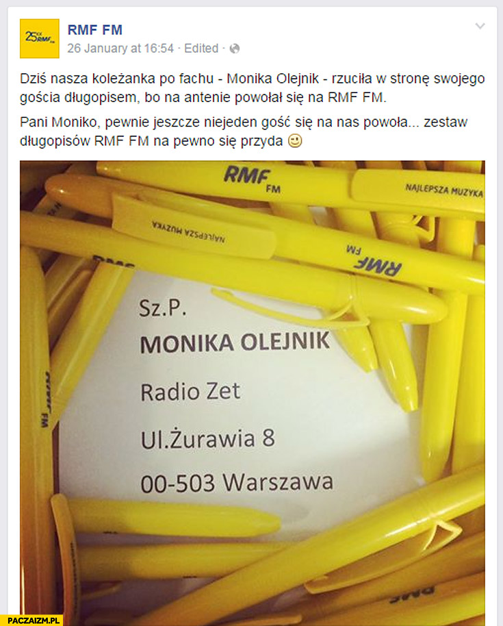 RMF FM trollowanie Monika Olejnik długopisy rzuciła długopisem