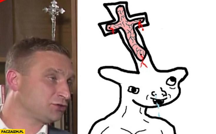 Robert Bąkiewicz krzyż na czole upośledzony przeróbka