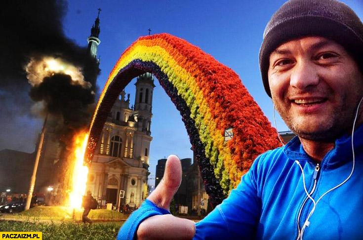 Robert Biedroń daje okejkę płonąca tęcza plac zbawiciela przeróbka photoshop