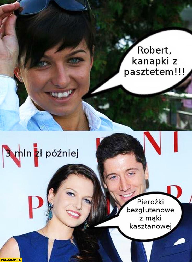 Robert kanapki z pasztetem, 3 mln zł później: pierożki bezglutenowe z maki kasztanowej Anna Lewandowska