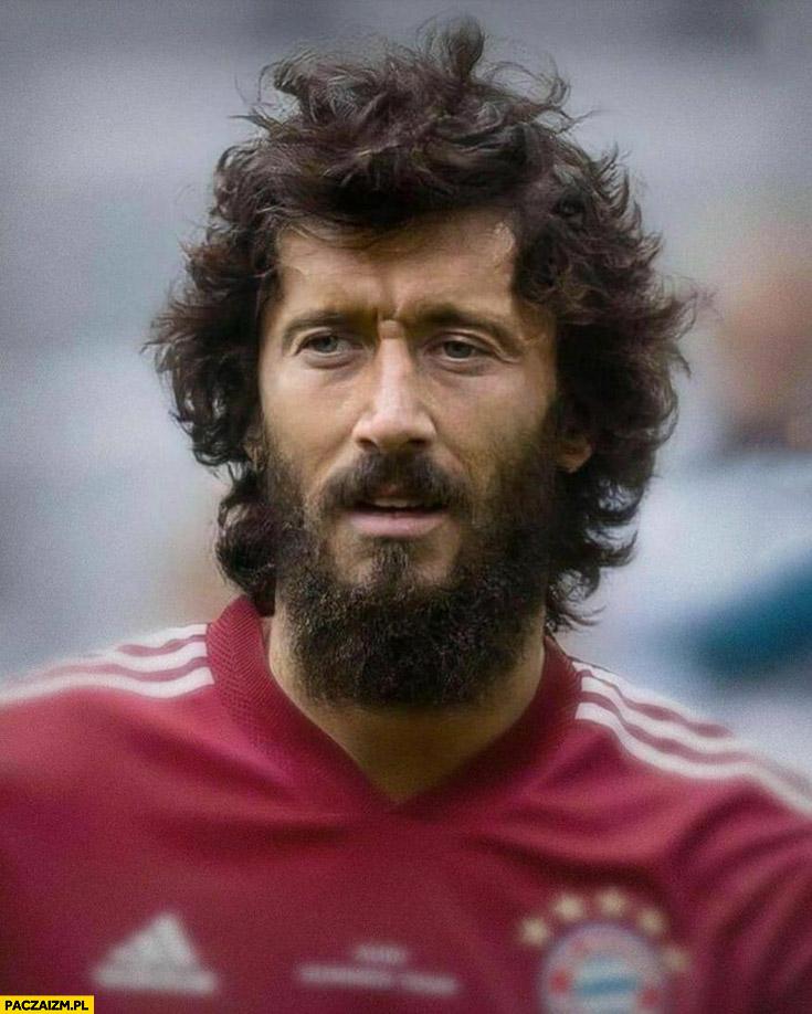 Robert Lewandowski zarośnięty nieogolony broda długie włosy przeróbka