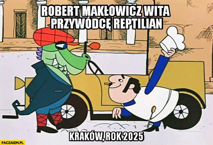 Robert Makłowicz wita przywódce reptilian, Kraków rok 2025