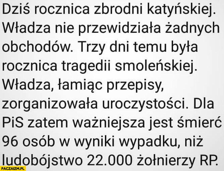 Rocznica zbrodni katyńskiej władza nie przewidziała obchodów, dla PiS ważniejsza jest śmierć 96 osób w wyniku wypadku jest ważniejsza niż ludobójstwo 22 tysięcy żołnierzy RP
