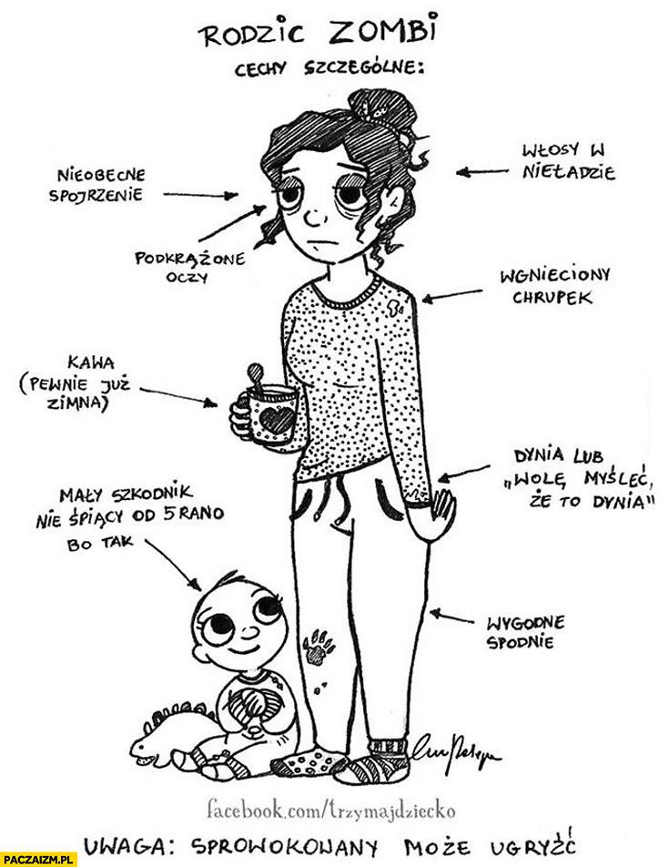 Rodzic zombie małe dziecko cechy szczególne rysunek