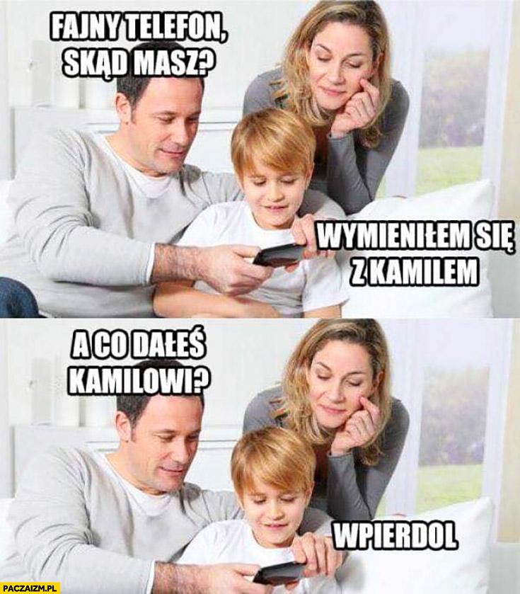 Rodzice do syna fajny telefon skąd masz wymieniłem się z Kamilem a co dałeś Kamilowi? Wpierdziel